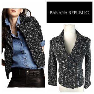 Banana Republic Textured Knit Moto Sweater Jacket